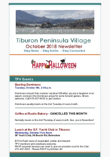 Tiburon Peninsula Village - October 2018 Newsletter newsletter