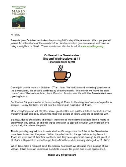 Mill Valley Village - October 2018 Newsletter newsletter