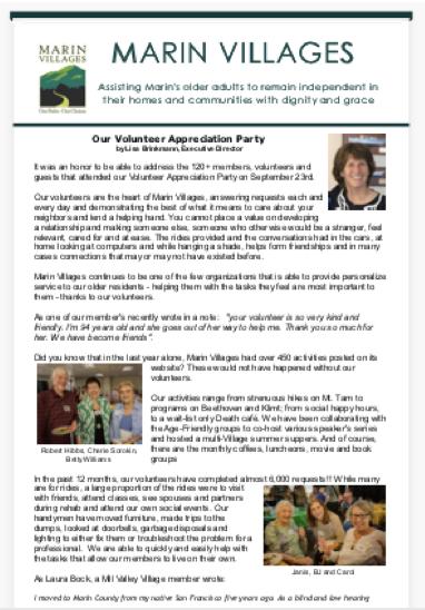 Marin Villages - October 2018 Newsletter newsletter