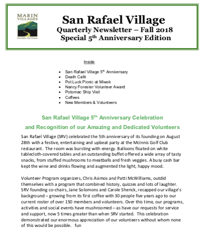 San Rafael Village - Fall 2018 Newsletter newsletter