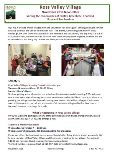 Ross Valley Village - November 2018 Newsletter newsletter
