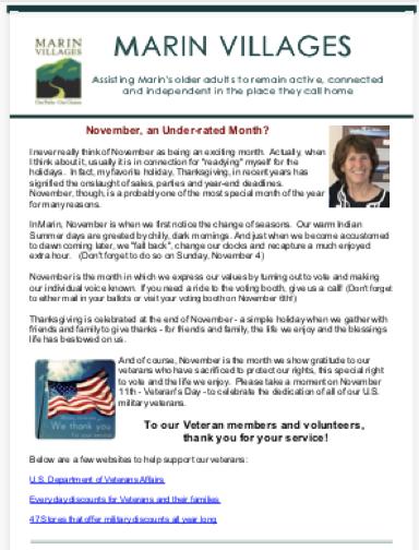 Marin Villages - November 2018 Newsletter newsletter