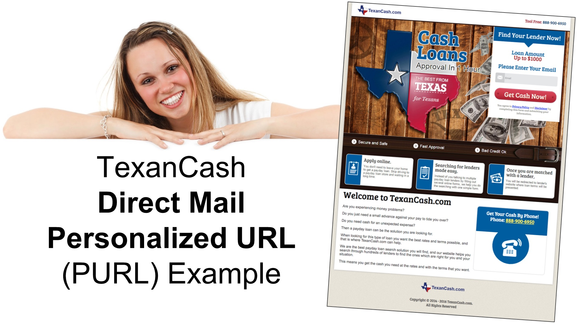 Direct Mail and Personalized URL (PURL) Example for TexanCash