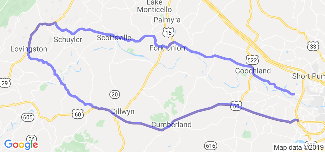 Route 522 Virginia Map.60 To 6 Loop From Richmond Va In Virginia Virginia Motorcycle