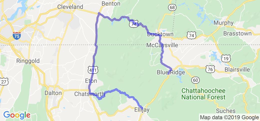 Map Of Georgia Ellijay.Blue Ridge To Ellijay In Georgia Tennessee Motorcycle Roads And