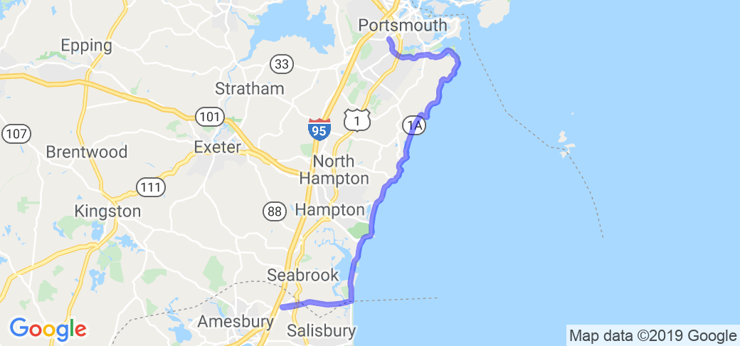 Rt 1A - The Seacoast Highway in New Hampshire | New ... Map Of Roads Epping Nh on