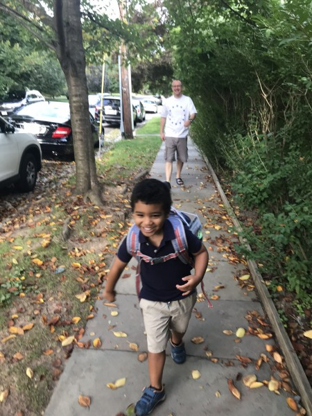 First day of school tradition . . . Marcus & I see him off together