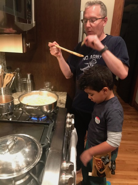 """Marcus and Ari """"cooking"""" dinner"""
