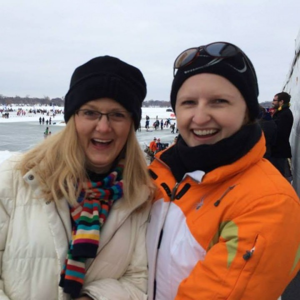 Kristia & her mom at the US Pond Hockey Championships.