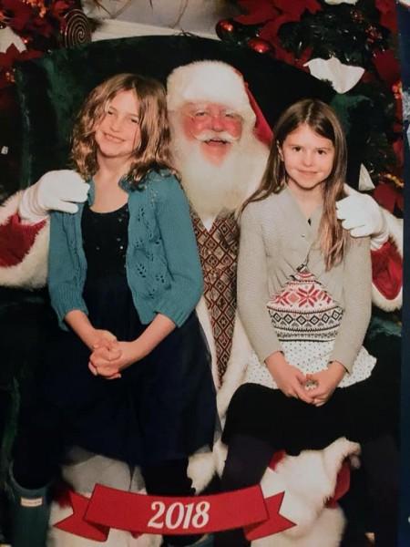 Faith and Alexi with Santa