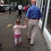 Papa Jim and Alexi taking a walk