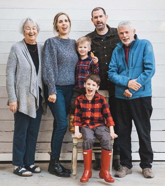 With Tim's parents who live next door.
