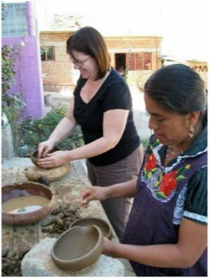 Taking a pottery class in Oaxaca