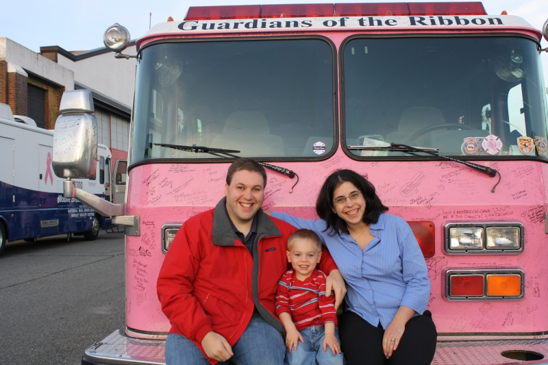 At the pink firetruck parade.