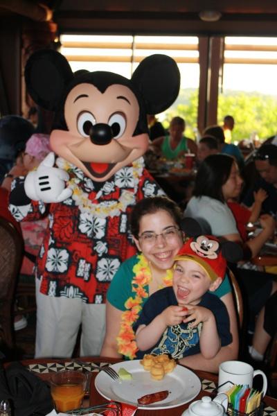 Enjoying the character breakfast at Disney World.