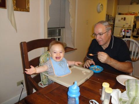 Enjoying lunch at Grandpa Steve's apartment!