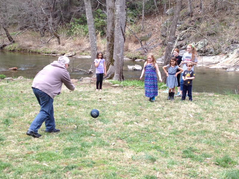 Kickball at our house!