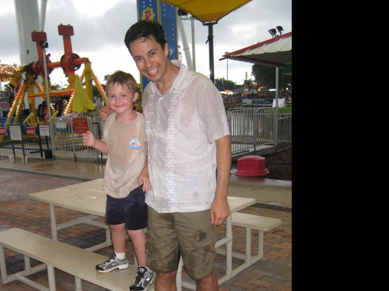 Having fun with our nephew JR, even when it means getting soaked