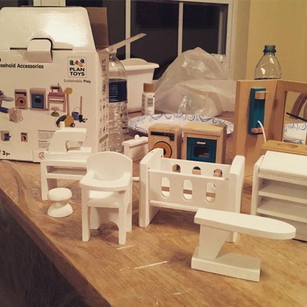 Painted dollhouse furniture for Aria