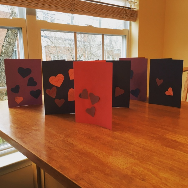 Aria's Valentines Day cards for her grandparents and great grandparents