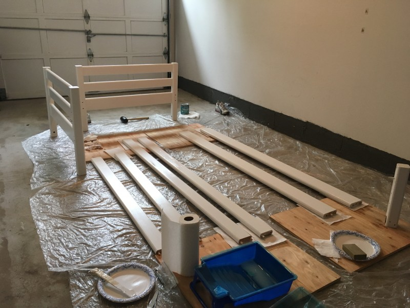 Painting a bed frame for Aria