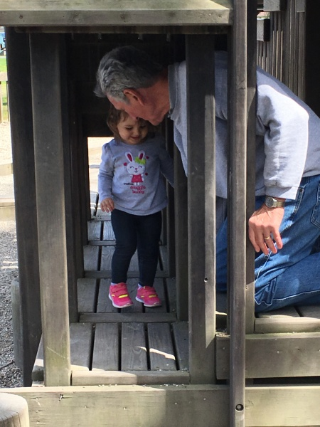 At the park with Papa (Great Grandpa)