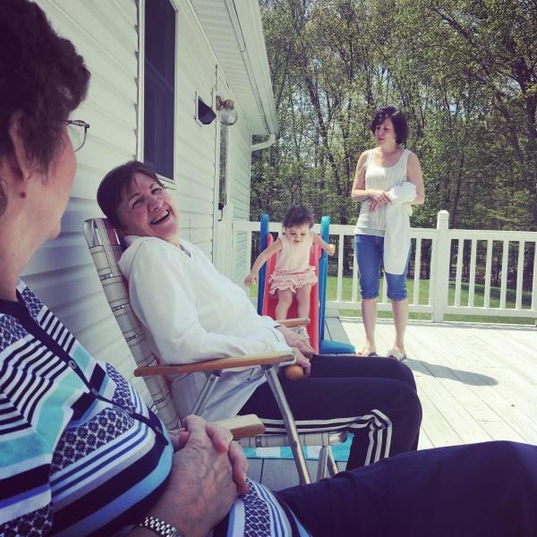 Aria with her grandma and great grandmas