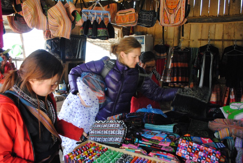 Kat at work, seeking textiles in Vietnam