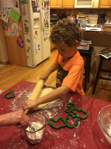 Matt helping with cut-out cookies!