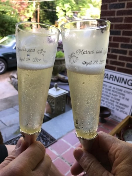 Toasting with our Wedding Champagne Glasses