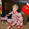 Erik's niece Siena, nephew Jack, and Babbo enjoying their matching pajamas