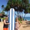 Hawaiian vacation - Trey grew up surfing, Jamie only surfs on foam boards in warm water! But always has fun!
