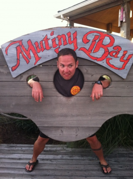 Jason in the gallows at Mutiny Bay in the Outer Banks, NC.