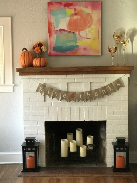 mantle set for Thanksgiving