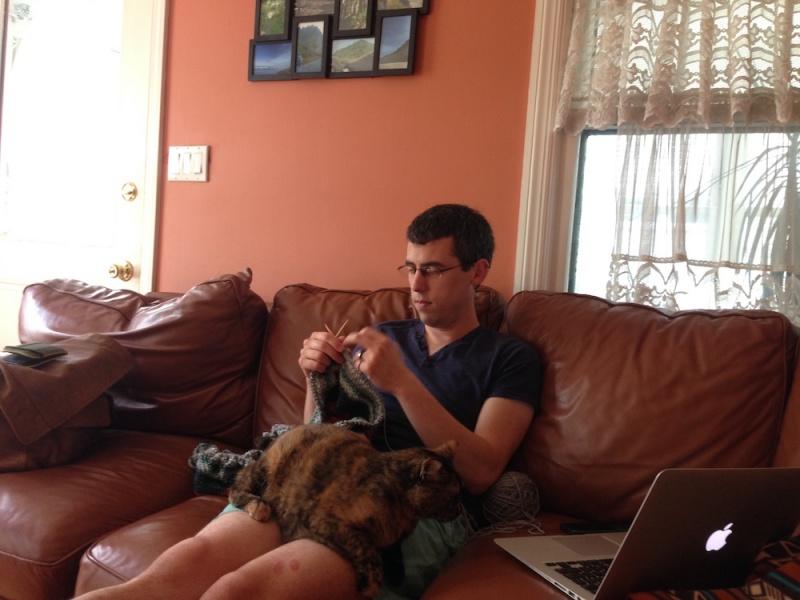 Seth is an avid knitter.