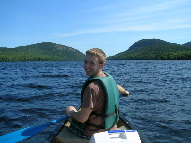 Chris canoeing on vacation. We like spending time outdoors.