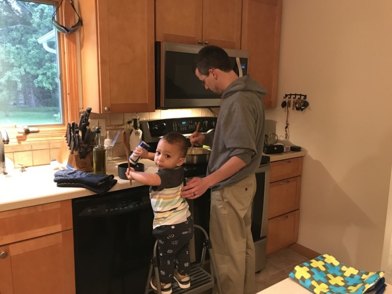 We both love to cook (and eat), and our son Holden seems to enjoy learning how to cook too.