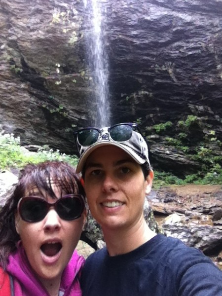 Hiking to waterfalls near our home.