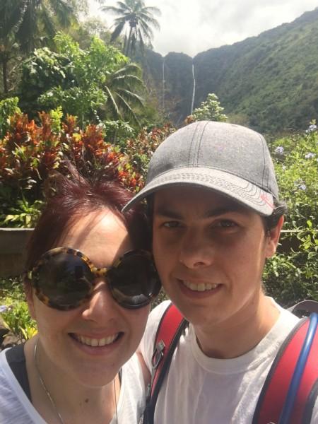 Hiking to waterfalls in Hawaii.