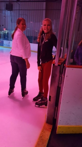 Kelly teaching her niece (from FL) how to ice skate