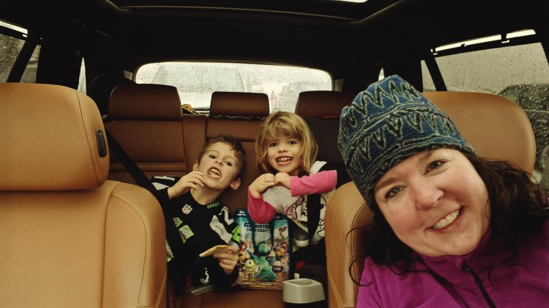 We love taking our friends (even our little friends) on adventures.  Here is Michele with her goddaughter and her brother off for a day skiing!