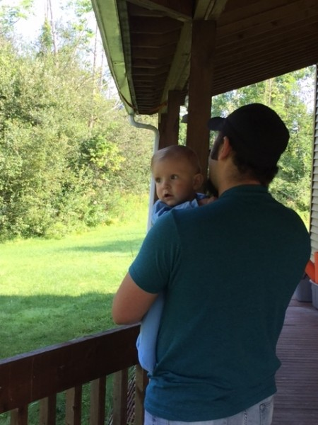 Chris with our nephew watching birds