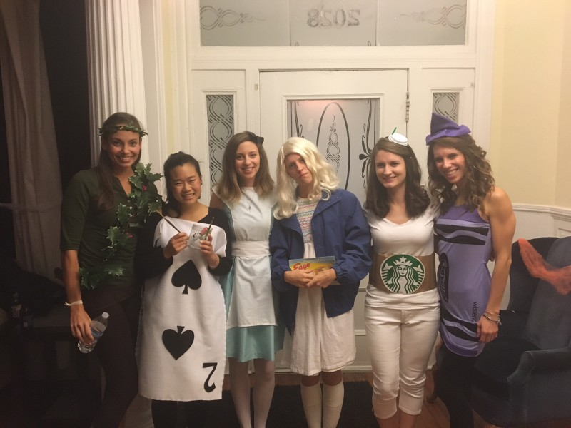 Cara and her girlfriends at a Halloween party