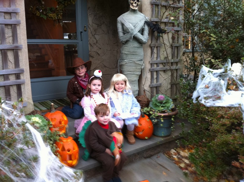 A throwback Halloween shot...when they were little and nice. Lol. We love Halloween in our family!  Decorating, pumpkins, apple picking.  All of it!