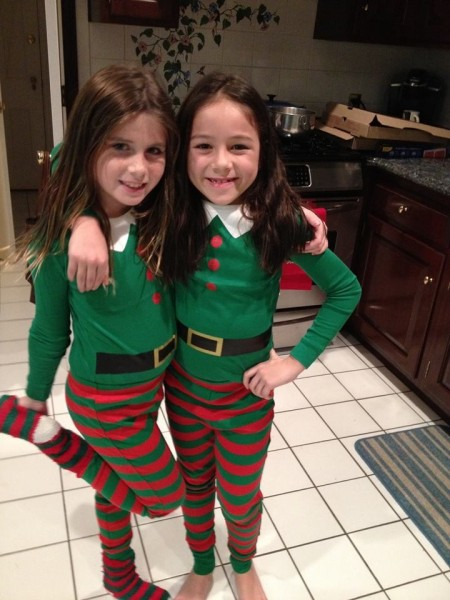 Double trouble waiting for Santa. After baking Christmas cookies, we have a sleepover at Grandma's to make our lists.  There is always room for another little one to join in the festivities...