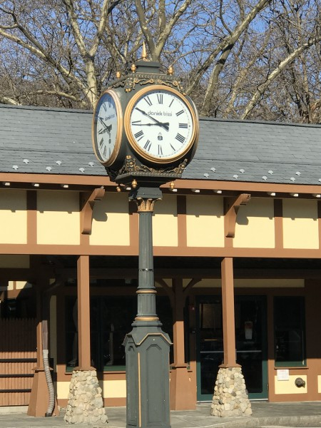 The train clock keeping the commuters on time for the train. Our suburb is a short ride into the city where we enjoy Broadway, restaurants and museums.  All the benefits of a big city while in a beautiful suburb!