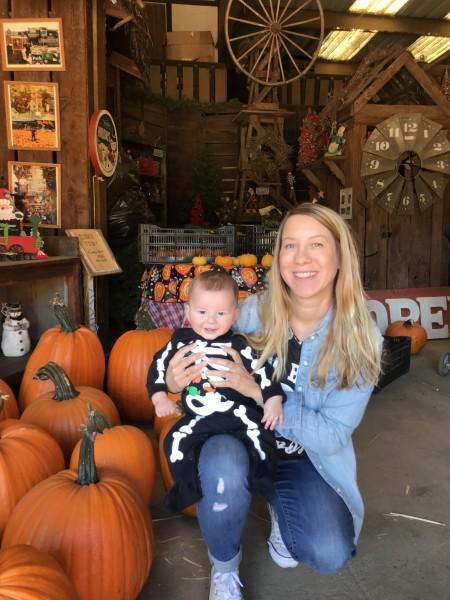 Parker's first pumpkin patch.