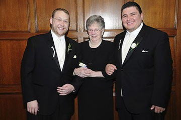 Smiling with Andrew's grandma at our wedding.