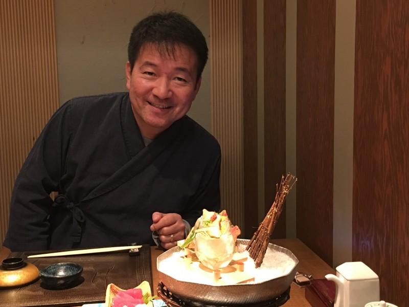 Hiroki at a fancy meal