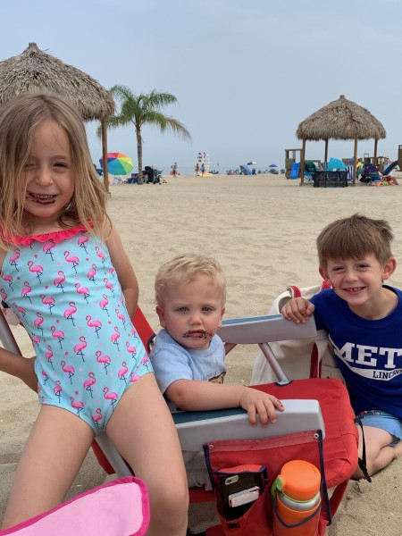 Cole with his cousins at the beach